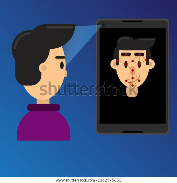 Smartphone Scans Face Id Biometric Identification Stock Vector