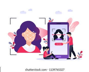 Smartphone scans a woman face. Biometric identification. Facial recognition system concept. Mobile app for face recognition. Ultraviolet flat vector illustration.