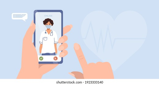 Smartphone screen with female cardiologist. Video call in messenger, online consultation. Vector flat web banner template. Ask doctor. Online medical advise, chat service, telemedicine, cardiology