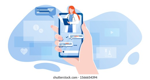 smartphone screen with female therapist on chat in messenger and an online consultation. Vector flat illustration. Ask doctor. Online medical advise or consultation service, tele medicine, cardiology