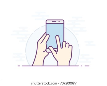Smartphone screen with gesture. Hand holding smartphone, finger touching screen. Vector illustration.