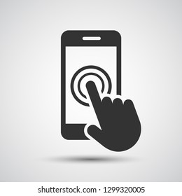Smartphone screen with hand, Touch screen icon