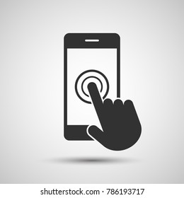Smartphone screen with hand, Touch screen icon - Vector