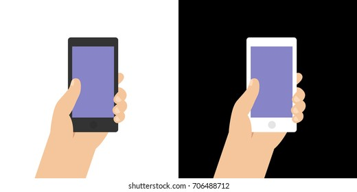 Smartphone screen illustration. Hand holds the smartphone, isolated on white and black background. Modern flat mockup.