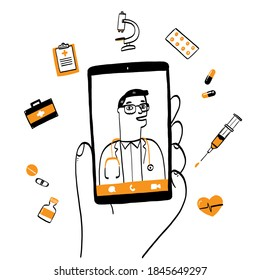 Smartphone screen with male therapist on chat in messenger and an online consultation. Vector doodle illustration. Ask doctor. Online medical advise or consultation service, tele medicine, cardiology