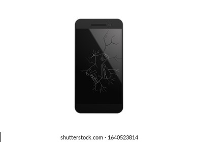 Smartphone screen smashed. Vector illustration. The touchphone is broken.