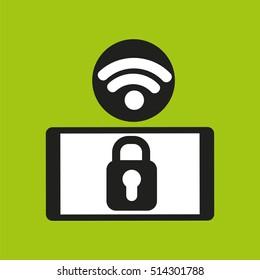 smartphone security lock internet wifi icon vector illustration eps 10