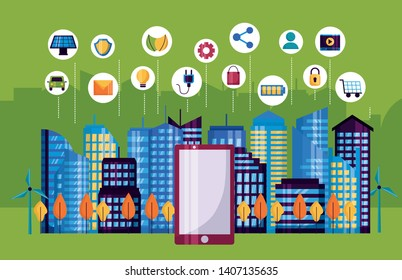 smartphone services internet of things networks innovation smart city vector illustration