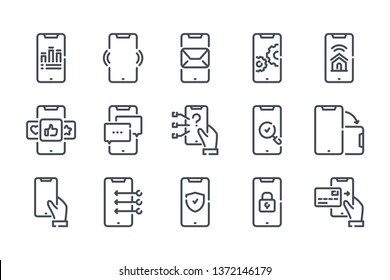 Smartphone services related line icon set. Mobile phone linear icons. Mobile technology outline vector sign collection.