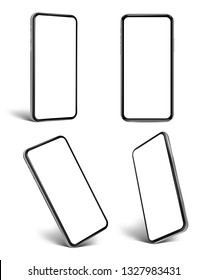 Smartphone set frame less blank screen - various positions -  vector eps 10 photo realistic illustration
