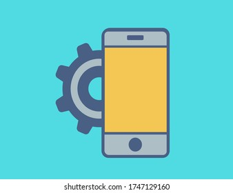 Smartphone settings icon in vector. Cogs, configuration, options, preferences, setting, settings, smartphone icon.