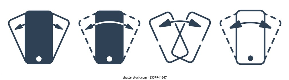 Smartphone shaking outline vector icon set. Phone shake flat pictograms collection