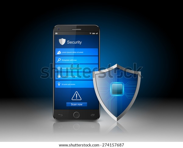Smartphone with shield.vector