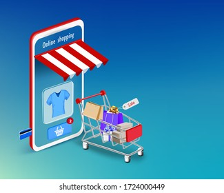 Smartphone with shopping cart and box for online shopping