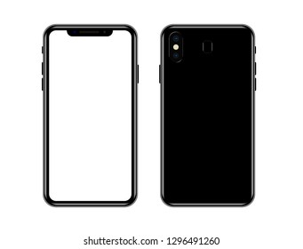 Smartphone similar to iphone xs max with blank white screen. . Isolated on white background. Vector illustration.  Realistic smartphone mockup.