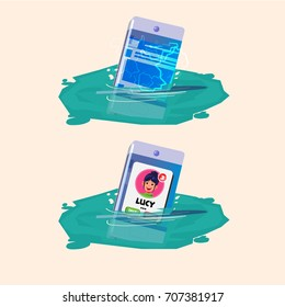 Smartphone sinking in the water while working. waterproof and no waterproof. vector illustration