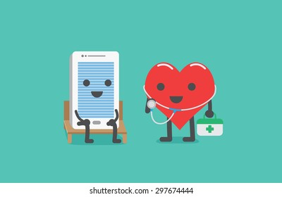 Smartphone sit on a chair for checking heath with heart technician carrying first aid box for maintenance. It moblie phone care concept