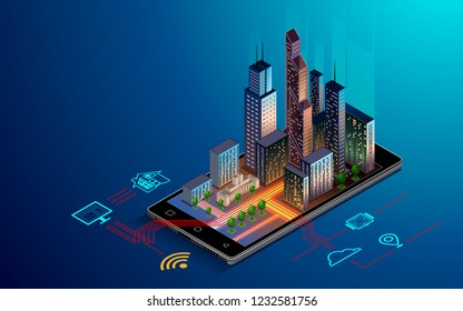 Smartphone with Smart city with smart services and icons, internet of things, networks and augmented reality concept , night city .