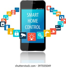 Smartphone with Smart House Apps. Internet of things concept illustration.Controlling your home appliances with Smartphone Apps .Smart house technology system with centralized control