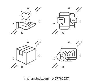 Smartphone sms, Parcel and Hold heart line icons set. Bitcoin chart sign. Mobile messages, Shipping box, Love brand. Cryptocurrency statistics. Business set. Line smartphone sms outline icon. Vector