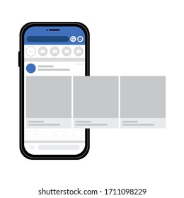Smartphone with social media interface, photo carousel post on social network. Mock up of basic user newsline. Vector illustration