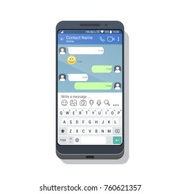 Smartphone with social network or messenger application template with virtual keyboard for mobile device. Chat or sms app interface concept. Vector illustration