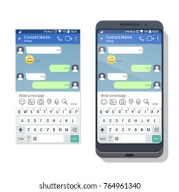 Smartphone with social network or messenger application template with virtual keyboard for mobile device on the screen. Chat or sms app interface concept. Vector illustration