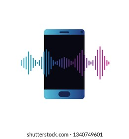 smartphone with sound wave isolated icon