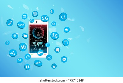 smartphone with speed test screen and apps icon floating