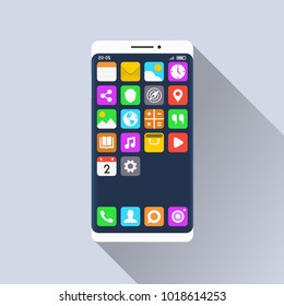 Smartphone and standard mobile applications on its screen. Flat design illustration