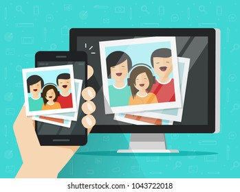 Smartphone streaming photo cards images on computer vector illustration, flat cartoon mobile phone connected to pc wirelessly showing photos, multimedia transfer or downloading from cellphone