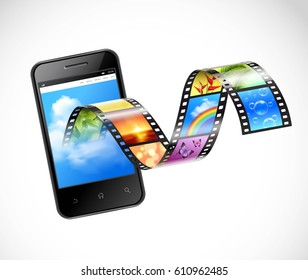 Smartphone with streaming video 3d design with film strip flowing from screen of mobile device vector illustration