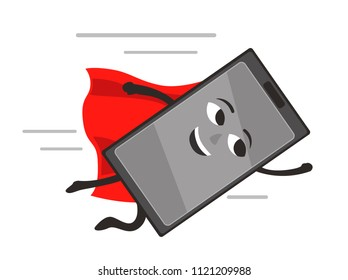 smartphone superhero in a red Cape flying to the righ. cartoon vector illustration