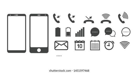 Smartphone symbol icon set in vector