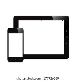 smartphone and tablet blank screen white background