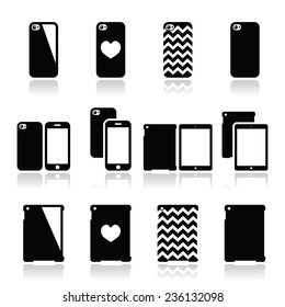 Smartphone, tablet case icons set