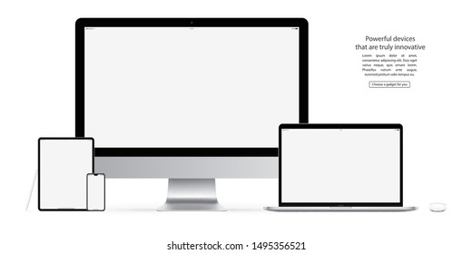 smartphone, tablet, computer monitor, laptop, mouse and stylus with blank screen saver isolated on white background. realistic and detailed devices mockup. stock vector illustration
