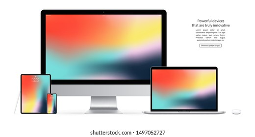 smartphone, tablet, computer monitor, laptop, mouse and stylus with colorful screen saver isolated on white background. realistic and detailed devices mockup. stock vector illustration