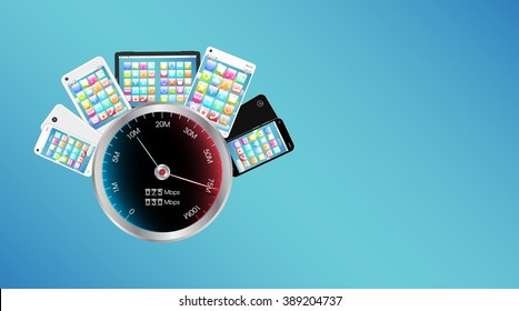 smartphone and tablet with internet speed meter