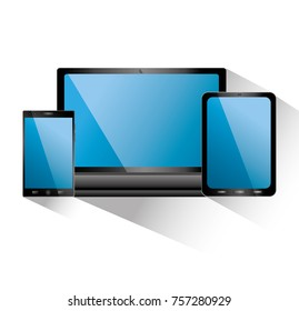 smartphone tablet and laptop icon gadgets electronic blue screens