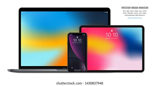 smartphone, tablet and laptop set black color with colorful screen saver isolated on white background. realistic and detailed devices mockup. stock vector illustration