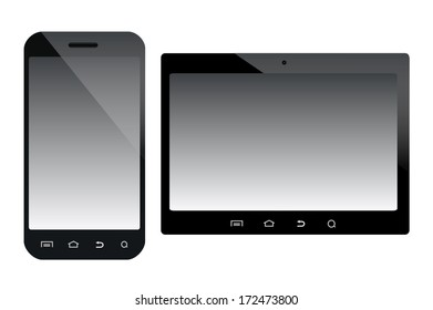 A smartphone and a tablet mobile devices vector illustration isolated over white background