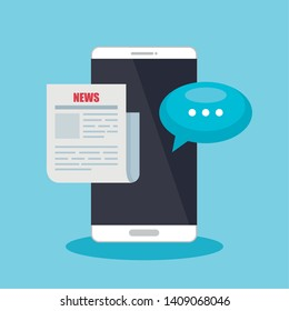 smartphone technology with chat bubble and news document