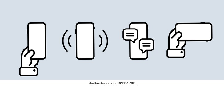 Smartphone template icon set. Calling phone, message window. Using telephone. Vector on isolated background. EPS 10