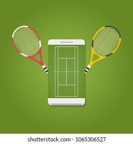 Smartphone with tennis field on screen and rackets. Tennis concept. Vector illustration.