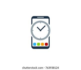 Smartphone Time Icon Logo Design Element