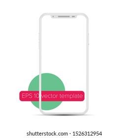 Smartphone transparent screen - easy way to put screenshot, mockup with minimalistic flat design