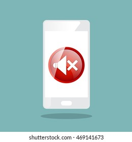 smartphone with turn off sound icon vector illustration