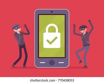 Smartphone under reliable protection. Two thefts unable to unblock a phone, protecting mobile device from malware threats. Mobile security. Vector flat style cartoon illustration on red background