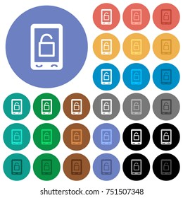 Smartphone unlock multi colored flat icons on round backgrounds. Included white, light and dark icon variations for hover and active status effects, and bonus shades on black backgounds.